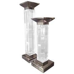 Pair of Charles Hollis Jones Candleholders in Lucite and Nickel, Signed
