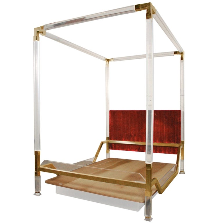 Vintage Charles Hollis Jones Four Poster/King Size Bed in Brass & Lucite For Sale