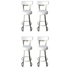 "Four ""Mathis"" Bar Stools by Charles Hollis Jones in Polished Chrome"
