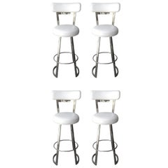 "Four ""Mathis"" Barstools by Charles Hollis Jones in Polished Chrome"