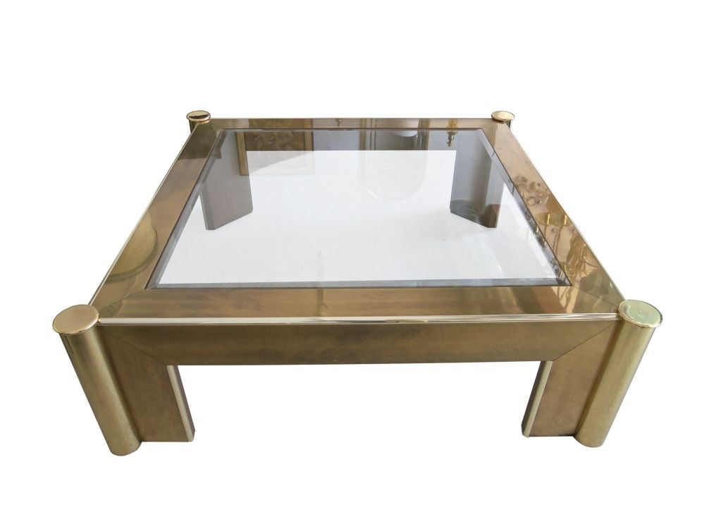 Large brass and glass coffee table by mastercraft at 1stdibs for Large glass coffee table