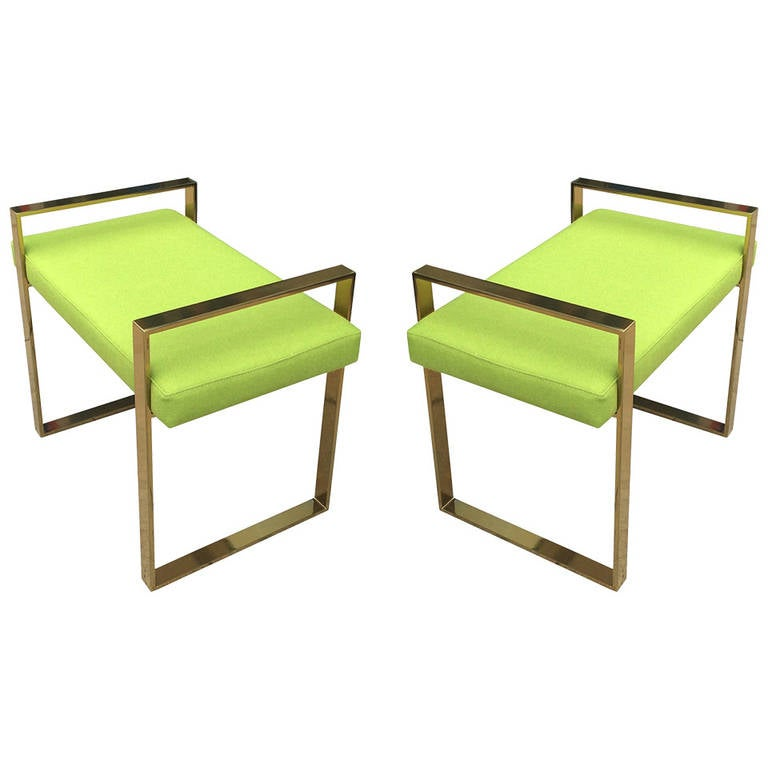 Pair of Polished Brass Benches by Charles Hollis Jones