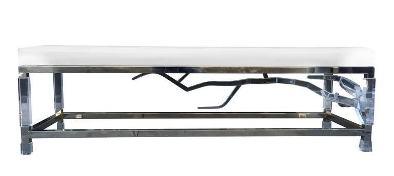 Stunning Lucite and nickel-plated long bench designed by Charles Hollis Jones as a part of his new series