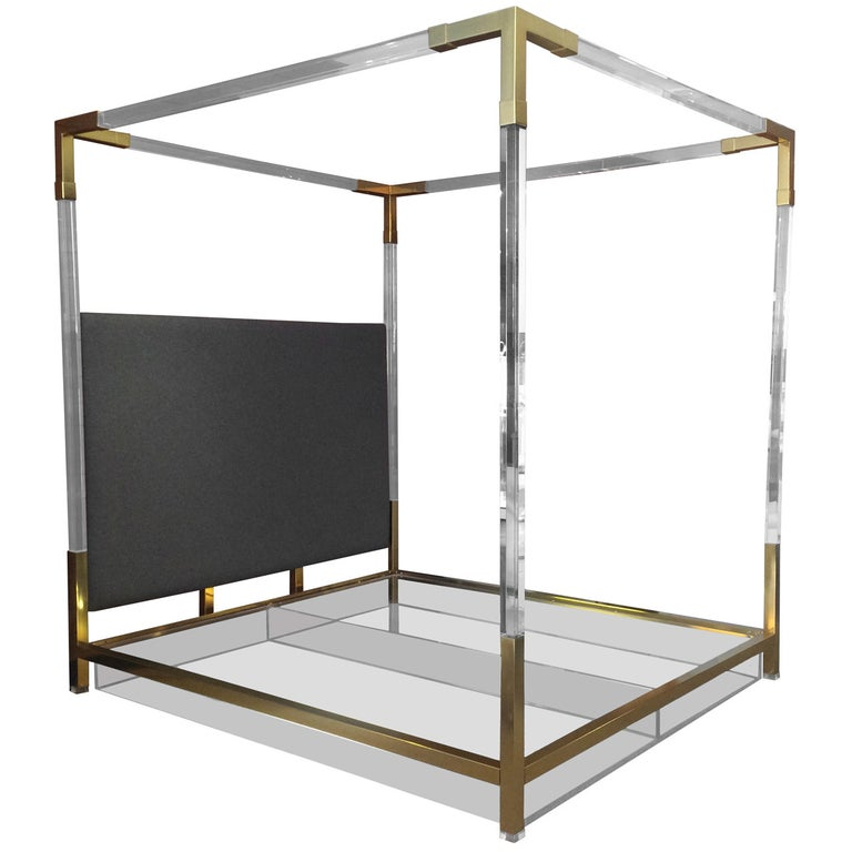 Brass and Lucite King-Size Bed by Charles Hollis Jones For Sale