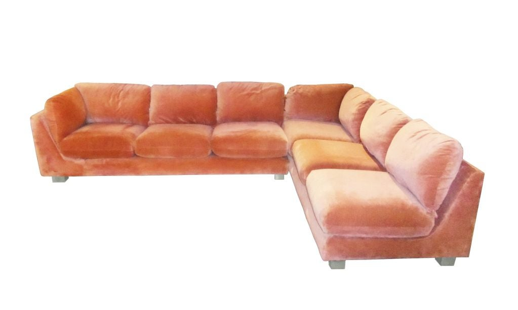 2 Piece Sectional In Salmon Color By Cleo Baldon At 1stdibs