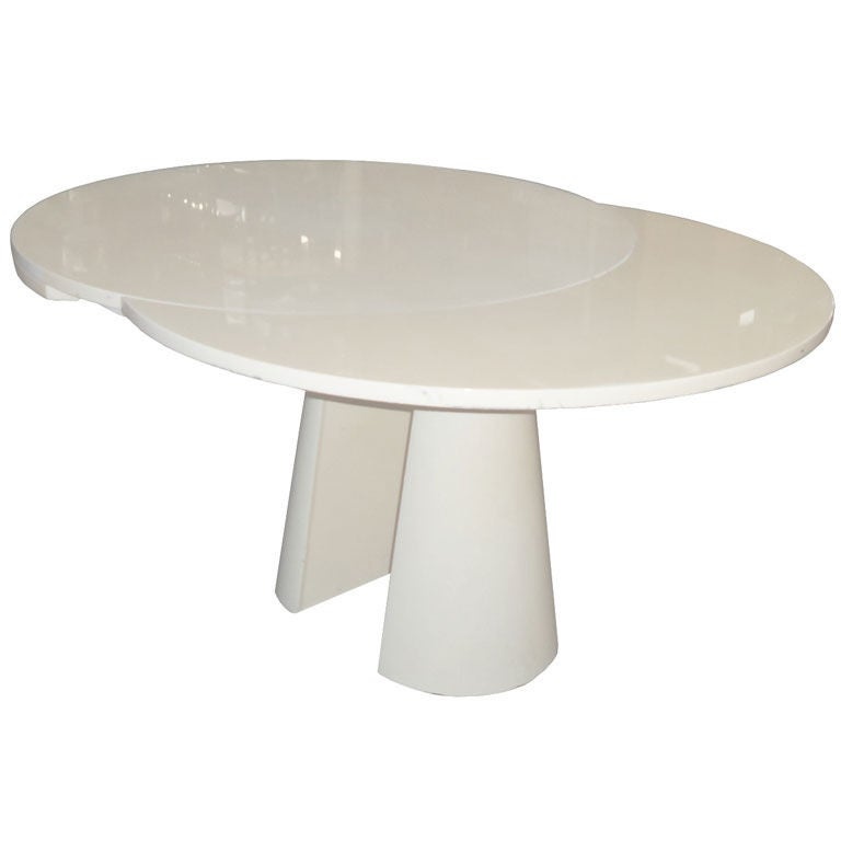 Expandable Dining Table With Architectural Conical Pedestal At 1stdibs