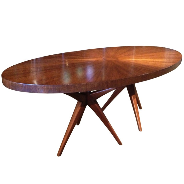 Stunning Mid-Century Modern Dining Table With Tripod Bases