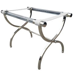 Charles Hollis Jones Luggage Rack or Tray in Lucite and Nickel
