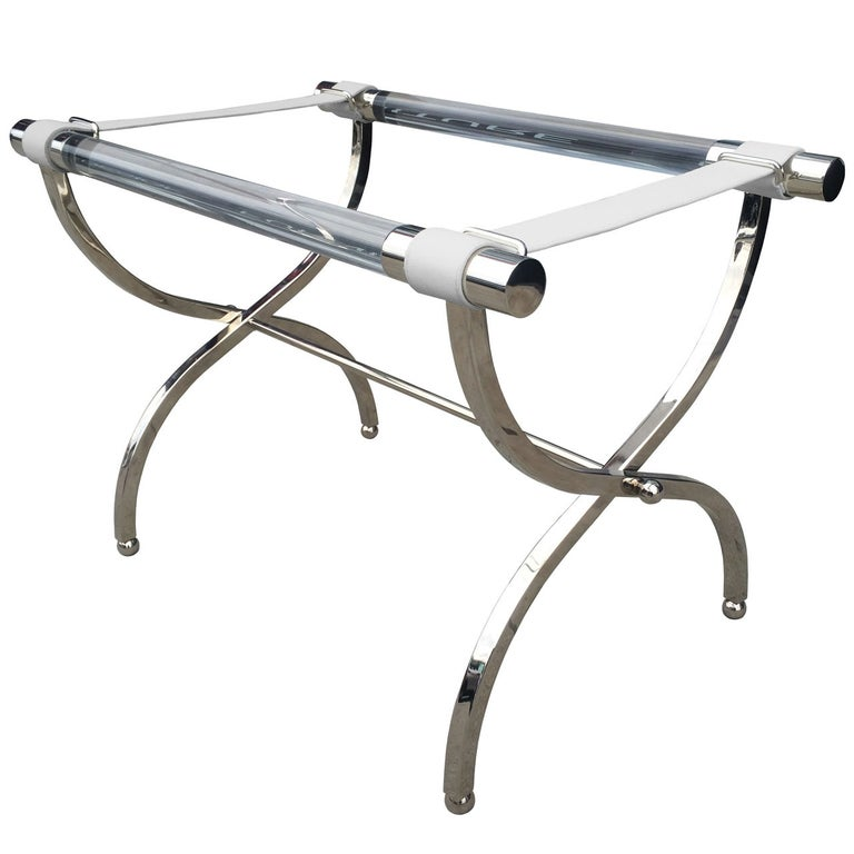 Charles Hollis Jones Luggage Rack or Tray in Lucite and Nickel For Sale