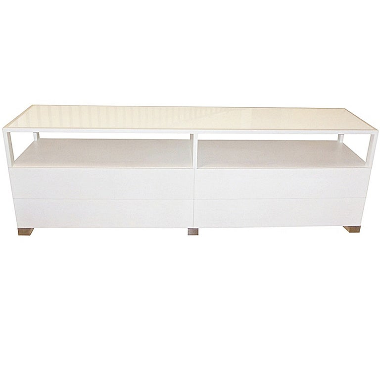 Cain Originals, Modern White Oak and Lucite Dresser with Milk Glass For Sale
