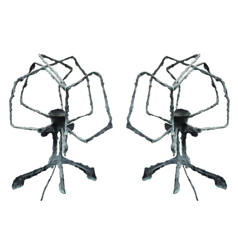 Pair of Brutalist Table Lamps by Charles Hollis Jones For Sale