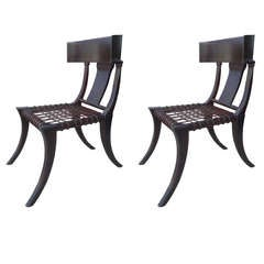 Pair of Klismos Chairs With Leather Weaving Seats
