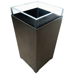 Charles Hollis Jones Bronze and Lucite Waste Basket, Signed