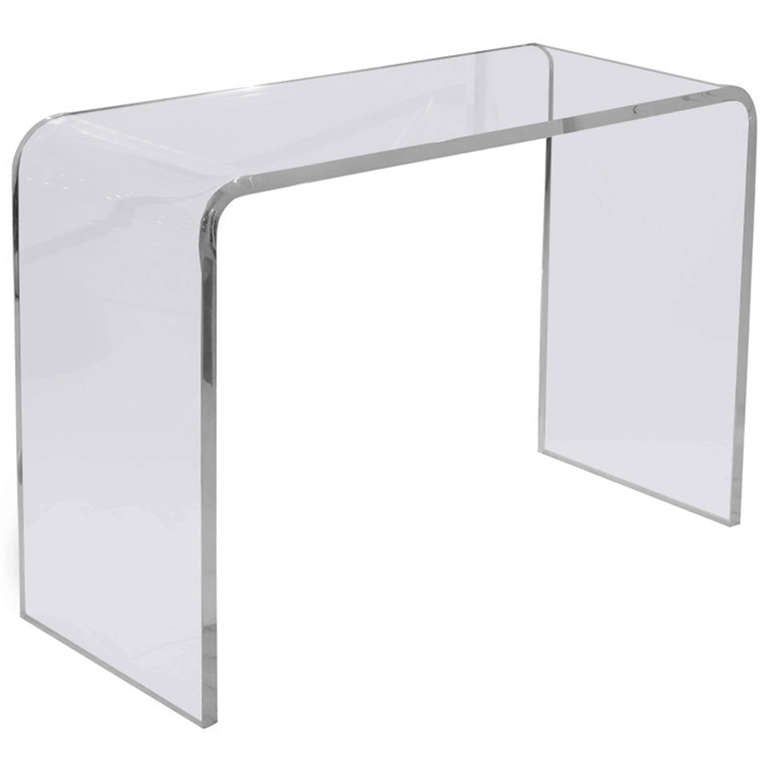 S waterfall lucite console table at stdibs