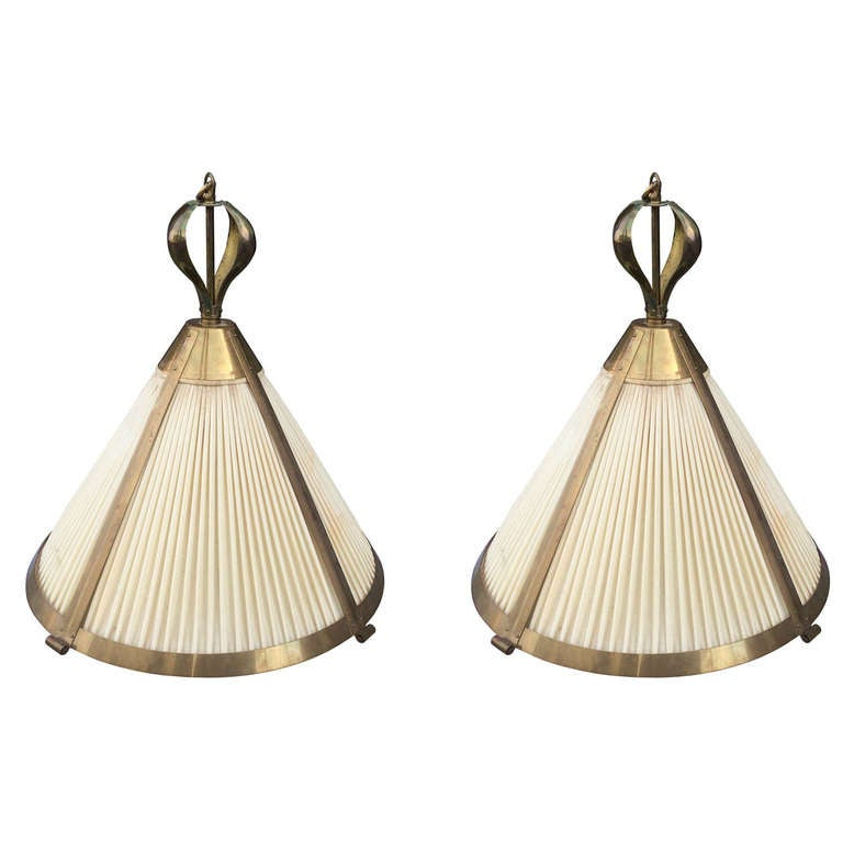 Pair of Brass Chandeliers by Paul Ferrante at 1stdibs