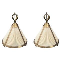 Pair of Brass Chandeliers by Paul Ferrante