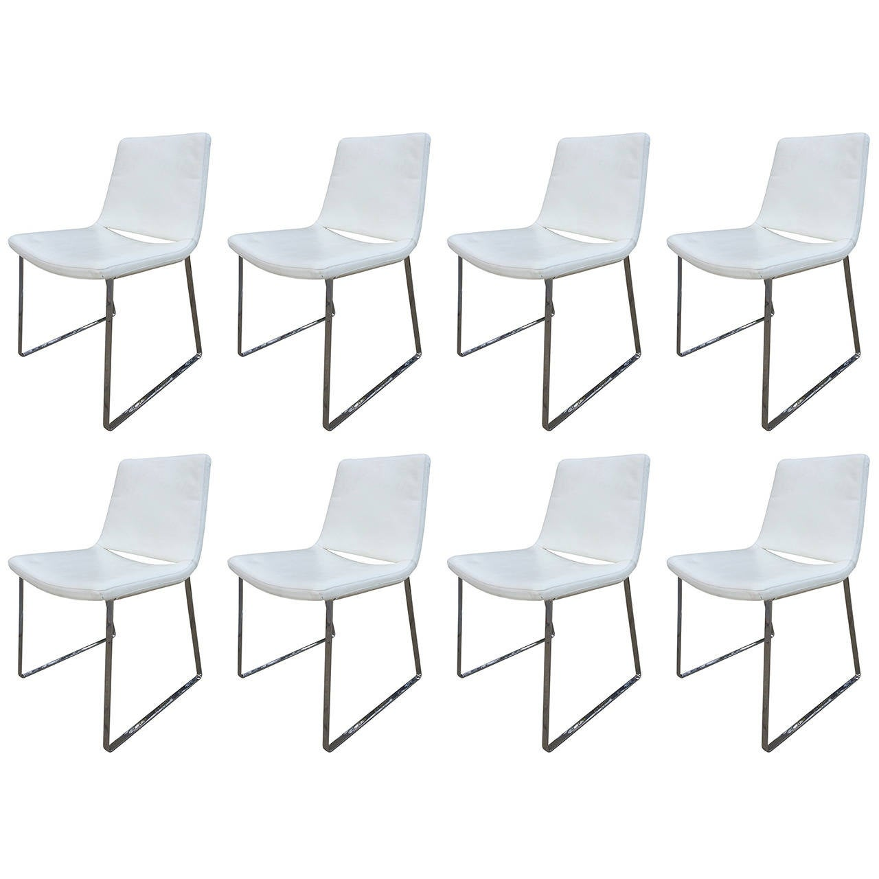 Set of Eight B&B Italia White Leather Chairs by Jeffrey Bernett For Sale