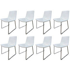Set of Eight B&B Italia White Leather Chairs by Jeffrey Bernett