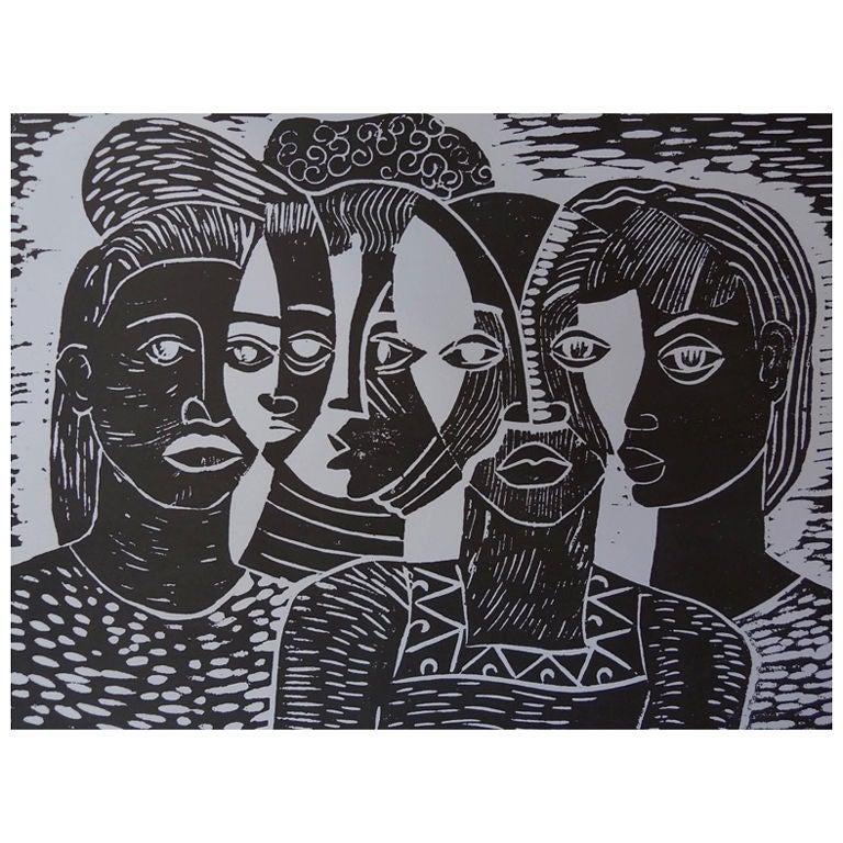 Margaret Taylor Burroughs Quot Faces A La Picasso Quot Woodcut At
