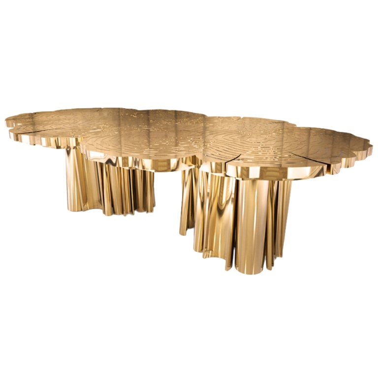 Fortuna dining table table in high polished brass - Table a manger originale ...