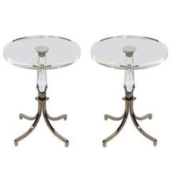 Pair of Regency Style Lucite and Nickel Side Tables by Charles Hollis Jones