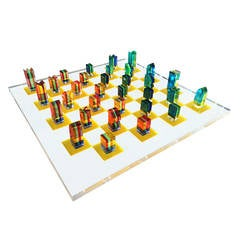 Charles Hollis Jones Lucite Chess Set with Original Nickel Stand, Signed
