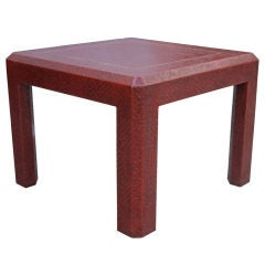 Raffia Embossed Side Table by in a Deep Red Color
