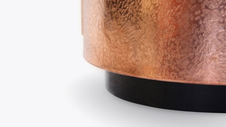 Hand Hammered Copper and Black Mirror Coffee Table at 1stdibs