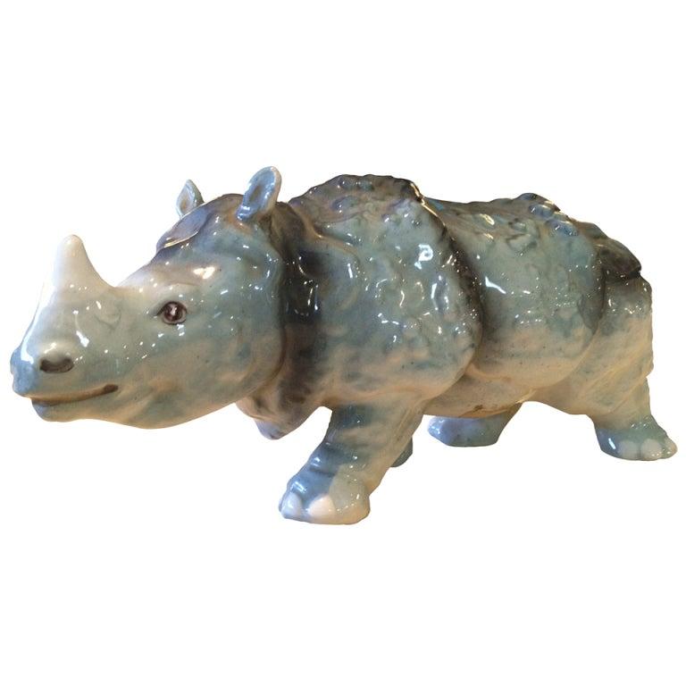 Vintage Italian Ceramic Rhinoceros
