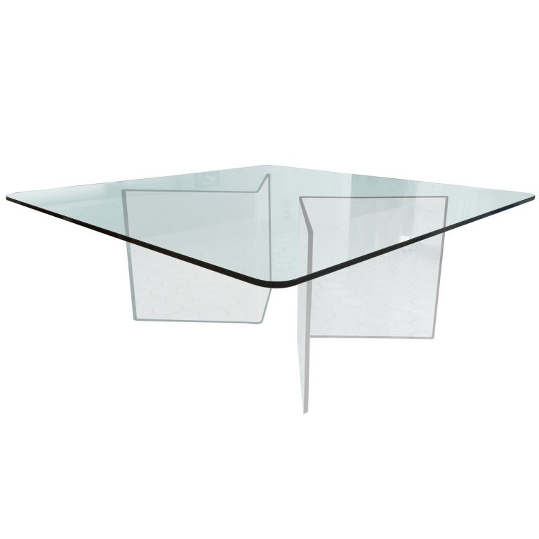 Square Dining Table In Lucite And Glass At 1stdibs