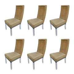 Set of Six Charles Hollis Jones Dining Chairs in Lucite and Nickel