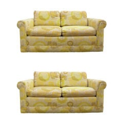 Outstanding Pair of 1960s Two-Seat Sofas