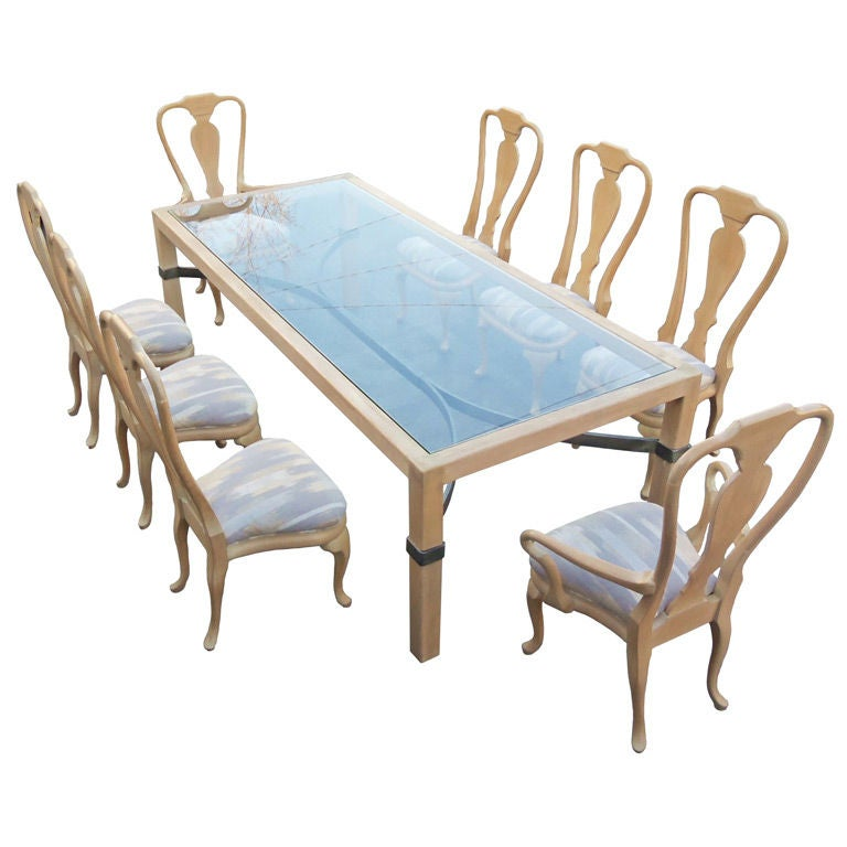 Phyllis morris queen anne dining set large table and eight chairs for sale at 1stdibs - Queen anne dining room furniture ...