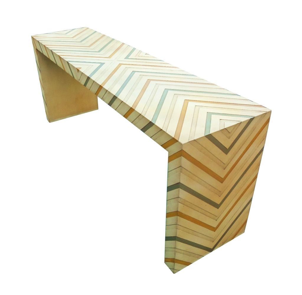 Phyllis Morris Console Table in a Multicolored Chevron Pattern 2
