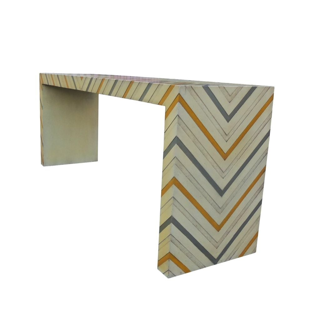 Phyllis Morris Console Table in a Multicolored Chevron Pattern 3