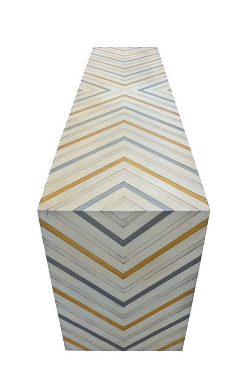 Phyllis Morris Console Table in a Multicolored Chevron Pattern 4