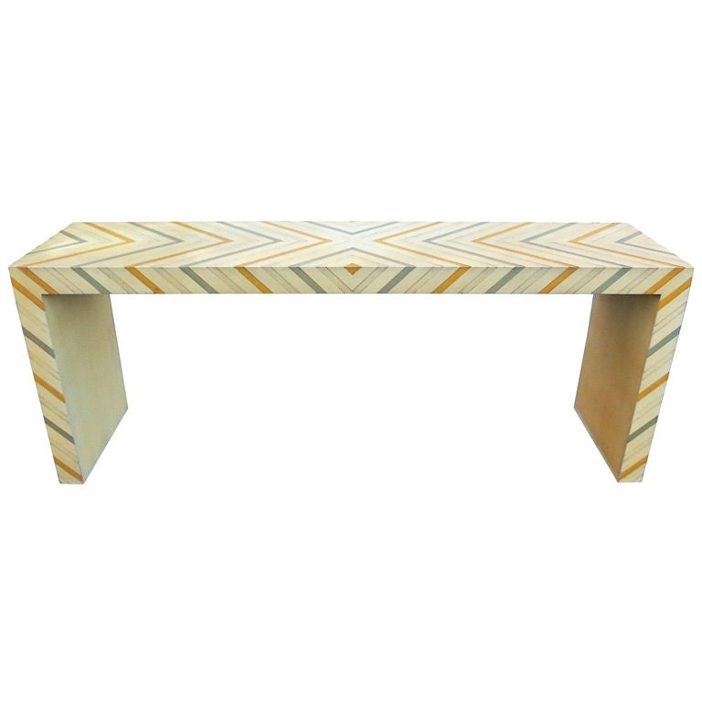 Phyllis Morris Console Table in a Multicolored Chevron Pattern 1