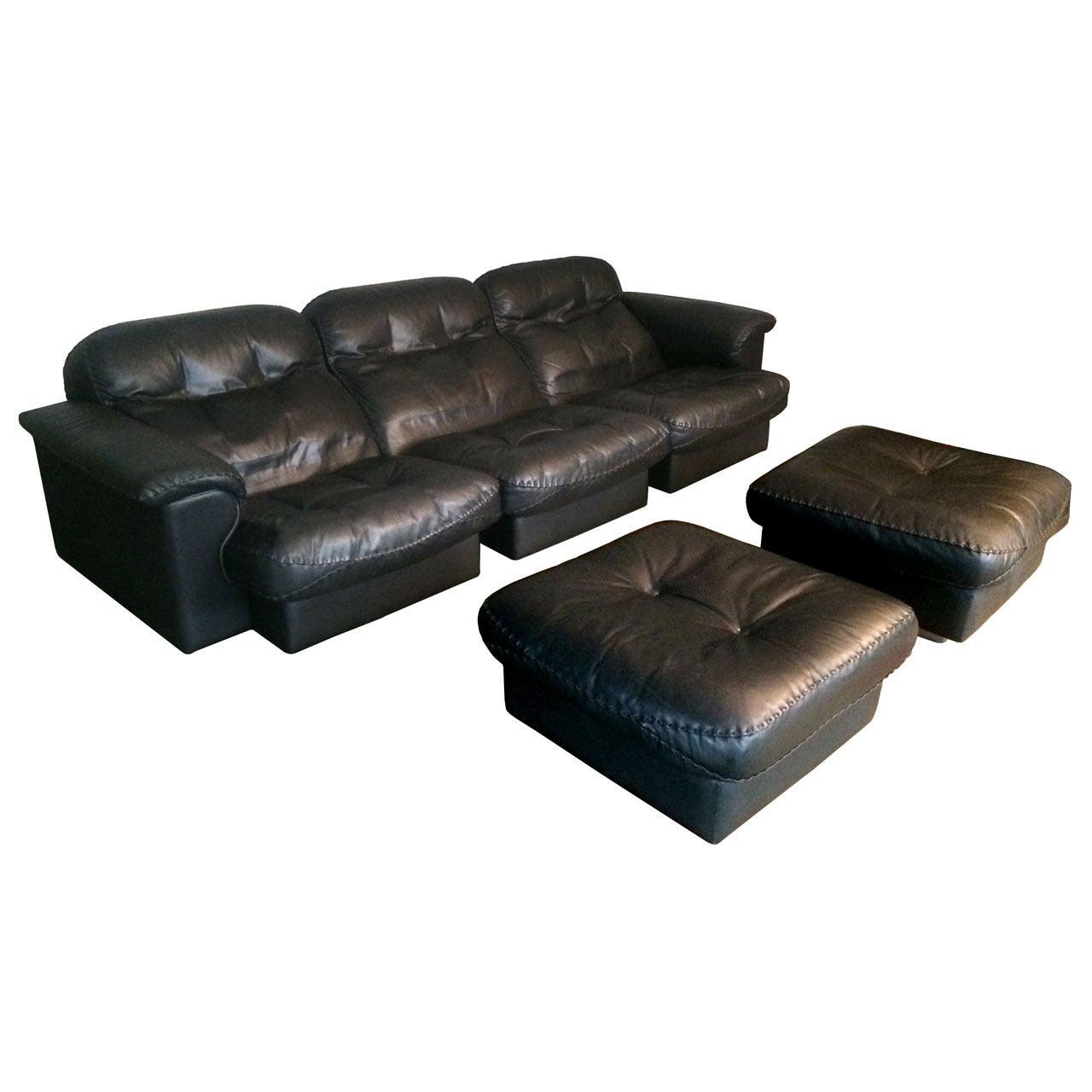 DeSede 3 Seater Sofa in Black Leather