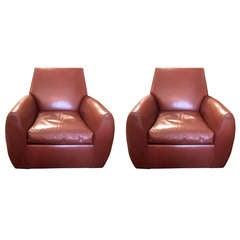 Pair of Dakota Jackson Leather Swivel Chairs