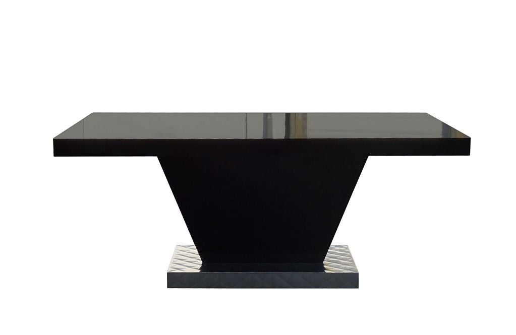 black lacquer dining table from a paul frankl project at