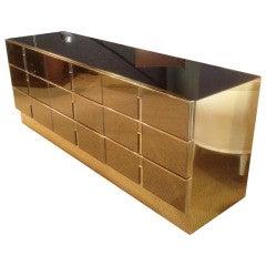Unique Dresser Embossed in Brass & Bronze Mirror by Mastercraft