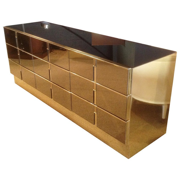 Unique Dresser Embossed In Brass And Bronze Mirror By