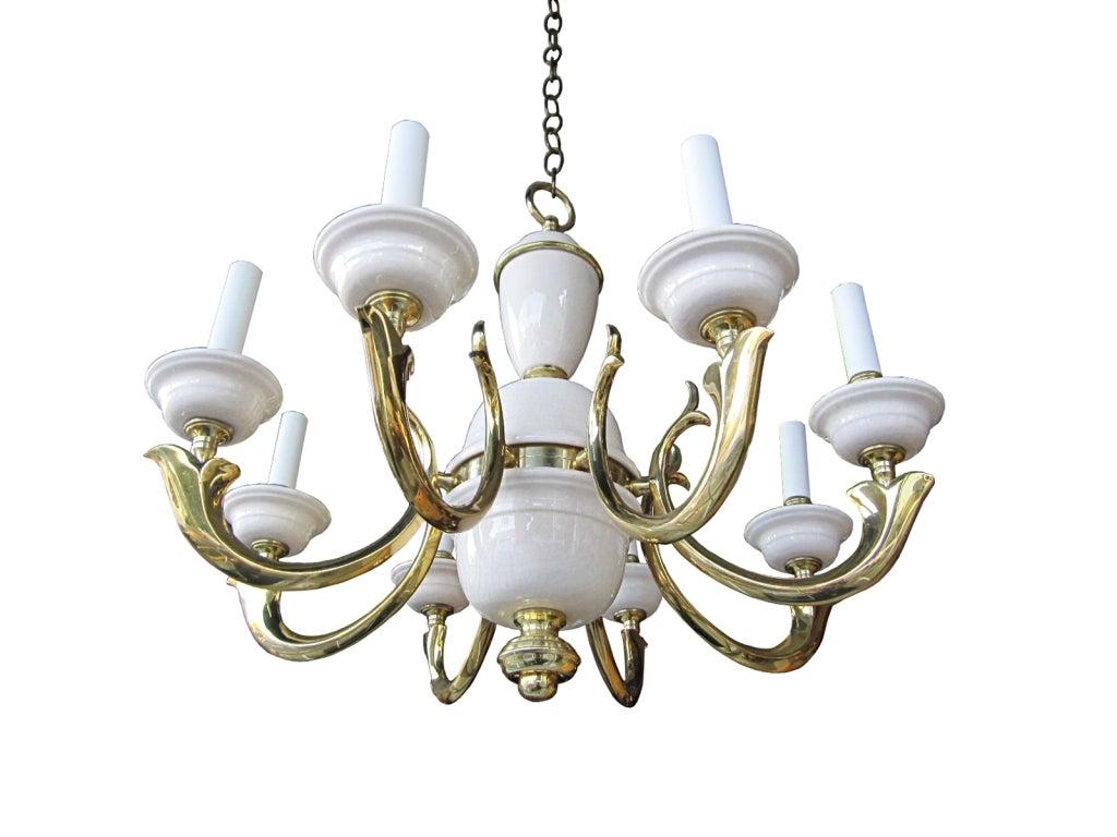 Georgian art lighting brass and porcelain eight arm chandelier georgian art lighting brass and porcelain eight arm chandelier 2 arubaitofo Images