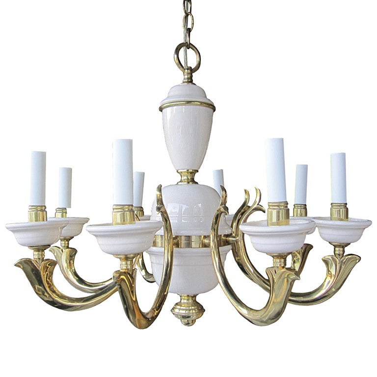 Georgian Art Lighting Brass And Porcelain Eight Arm
