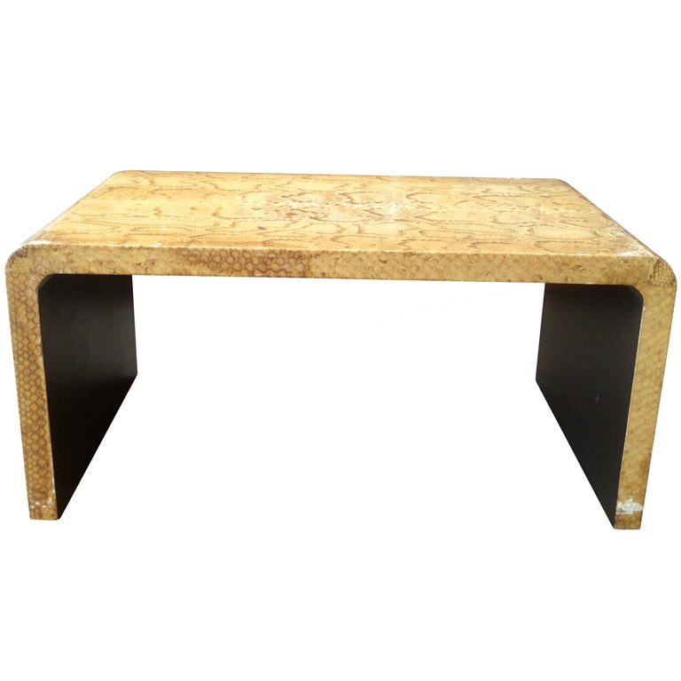 Karl Springer Style Snake Skin Coffee Table At 1stdibs