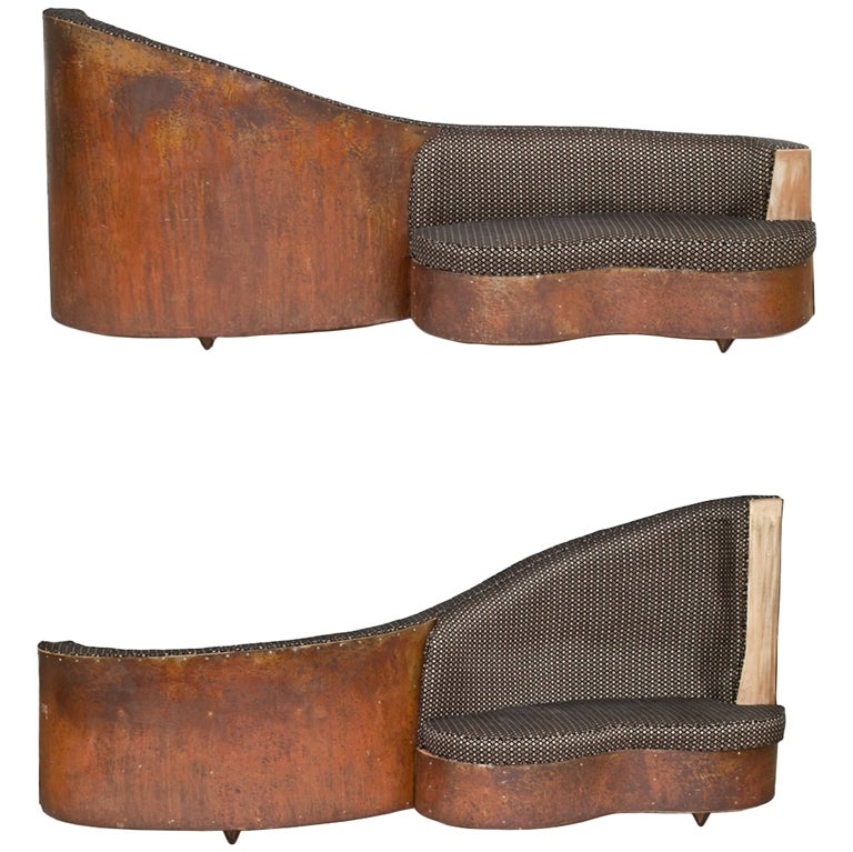 Art Deco Double Sided Copper And Wood Upholstered Sofa For Sale Stdibs