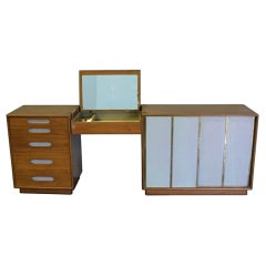 Three Section Vanity with Leather Accents by Harvey Probber