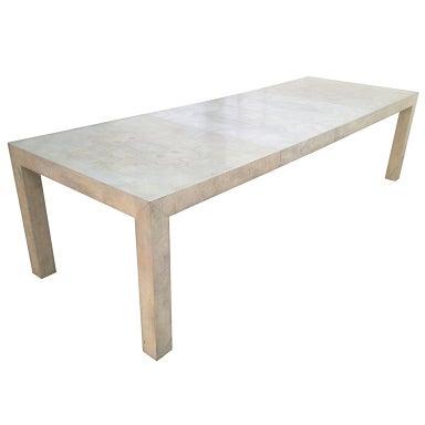 Expandable Burlwood Parsons Dining Table By Milo Baughman