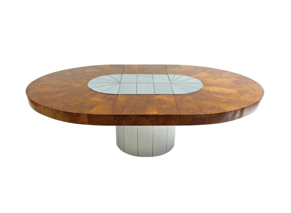 Satin Chrome And Wood Oval Dining Table By Paul Evans For