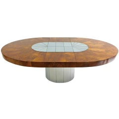 Satin Chrome and Wood Oval Dining Table by Paul Evans
